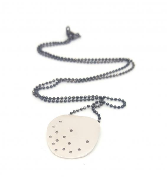 Scatter pendant in sterling and oxidised silver