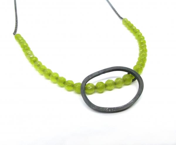 Jade and oxidised silver necklace
