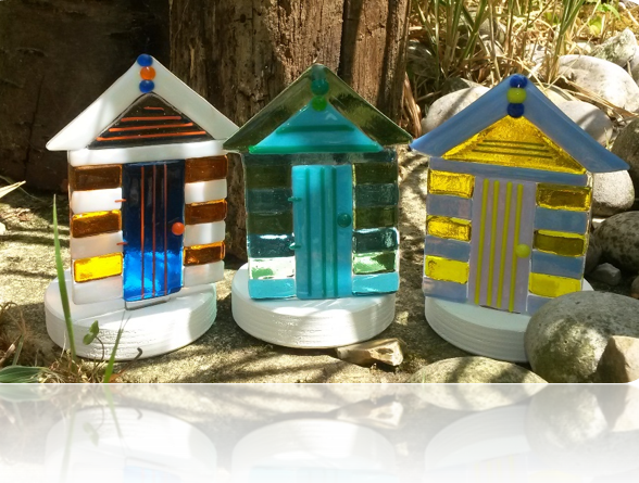 Beach Huts, handmade glass beach huts mounted on wood