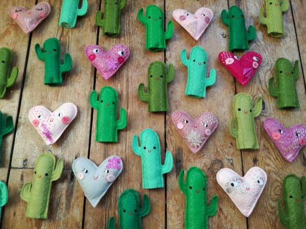 Felt cacti and felt cute hearts