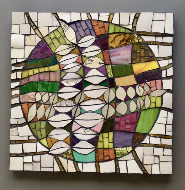 Abstract mosaic using glass and ceramic.