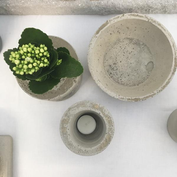 Concrete candle holder, plant pot and decorative bowl