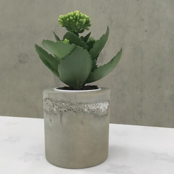Concrete and lace plant pot