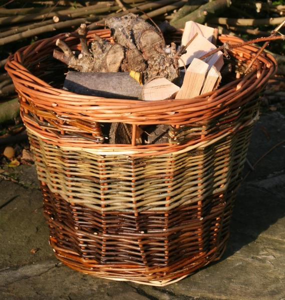 Willow log basket made in Sherwood