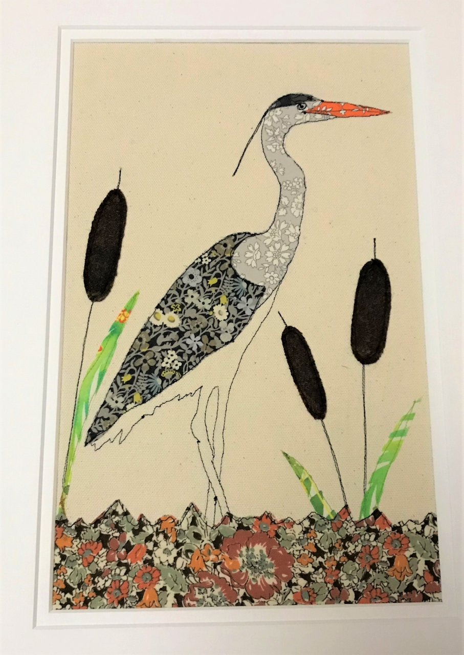 Free-machine embroidered and appliqued grey heron