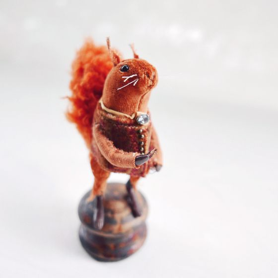 miniature red squirrel art doll by modflowers