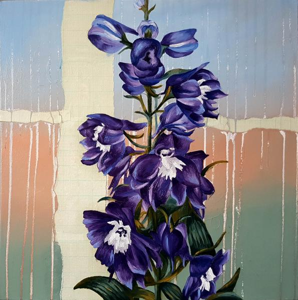 Delphiniums (mixed media with oil on canvas)