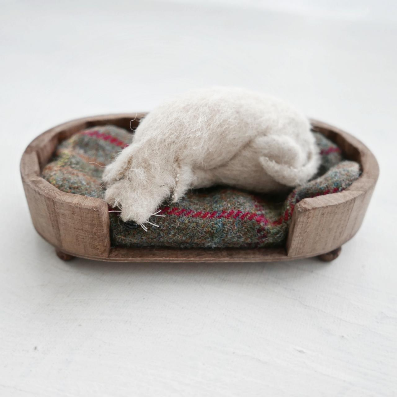 miniature sleeping dog in bed art doll by modflowers