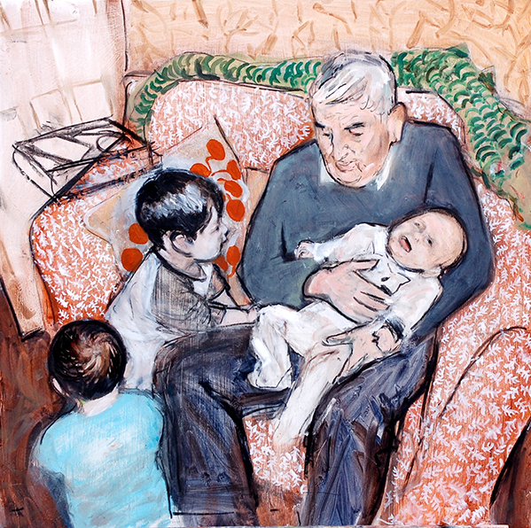 'Grandad' mixed media painting by Giles Woodward