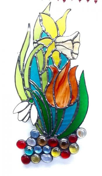 Daffodil, snowdrop, tulip stained glass Suncatcher