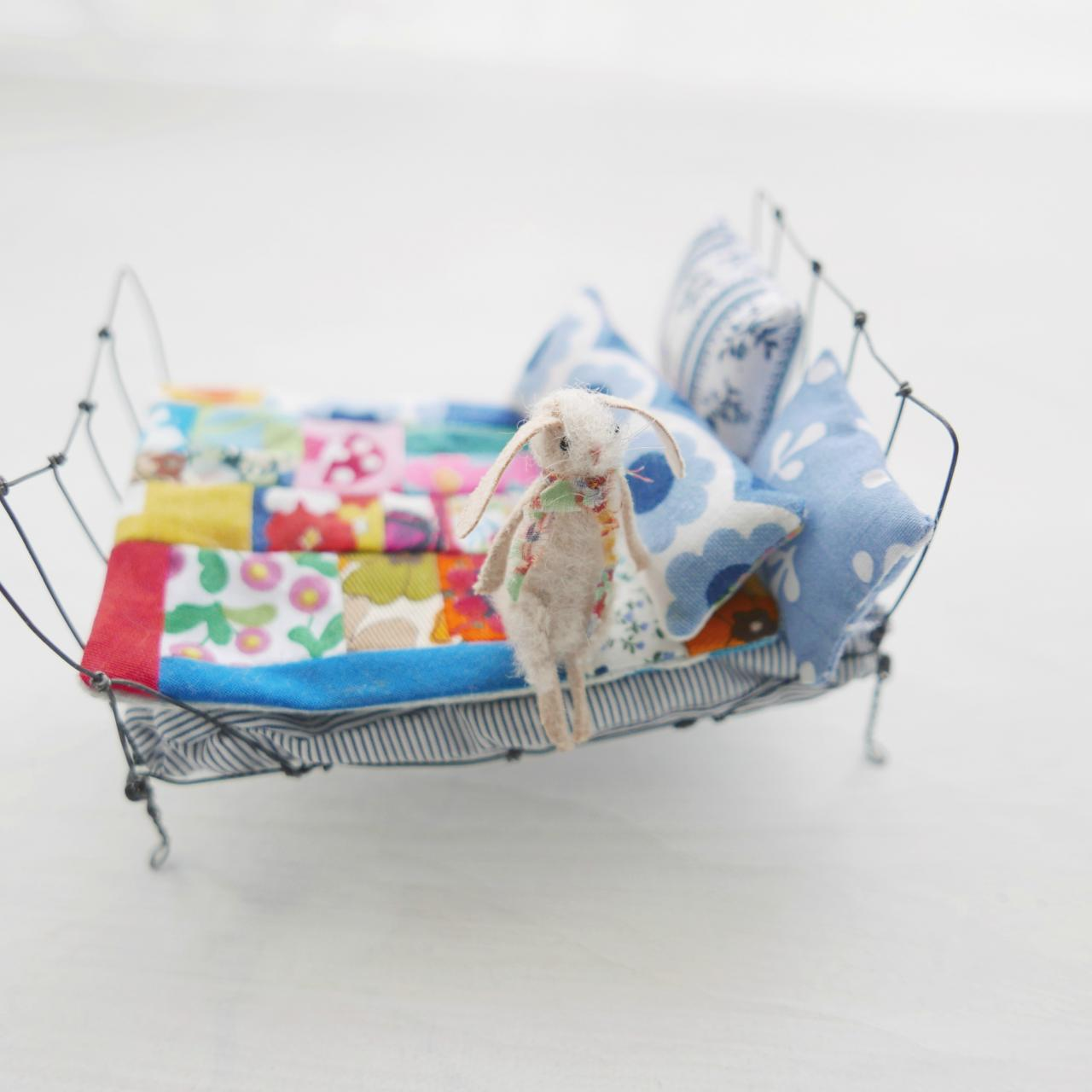 miniature rabbit on wire bed mixed media art doll by modflowers