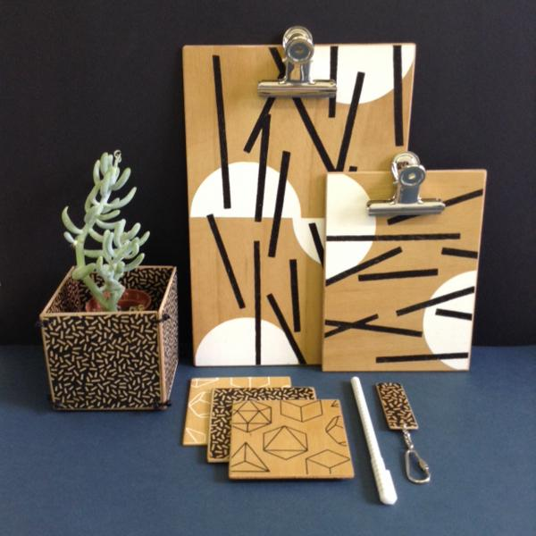 Monochrome plywood stationery and homewares