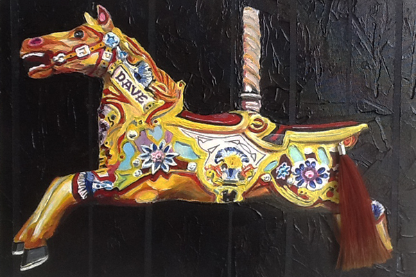 carousel, horses,fairground,acrylic,painting,canvas,art,wall hanging,home decor,colourful,original artwork,Dave,SAW19,annettesheldonart