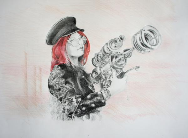 "A pencil drawing with some burgundy watercolour on the hair of a ""Steampunk"" woman in a leather jacket holding a futuristic raygun"