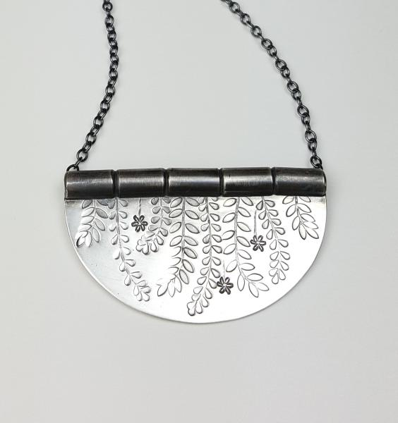 handmade, silver, jewellery, Nottingham, necklace, stamped, leaves, botanical
